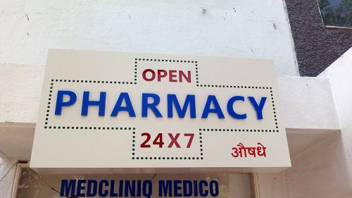 10 mm - 3D acrylic PHARMACY letters with 24x7 inline cut and reverse acrylic