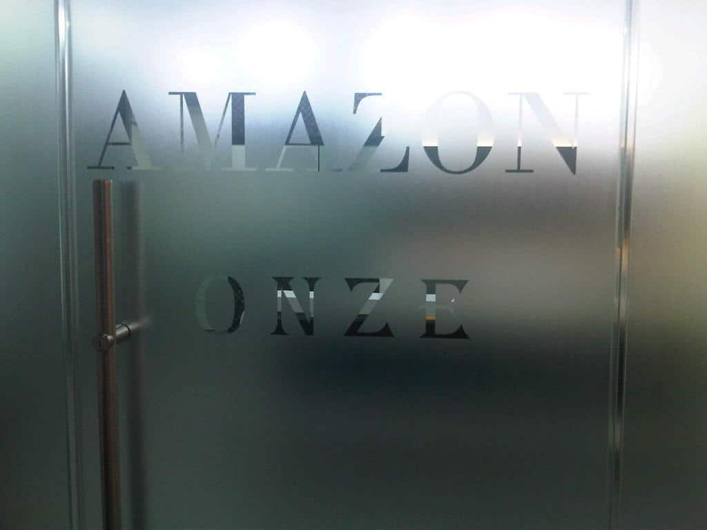 frosted glass film with logo cut out