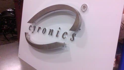 Molded steel letters mounted on studs