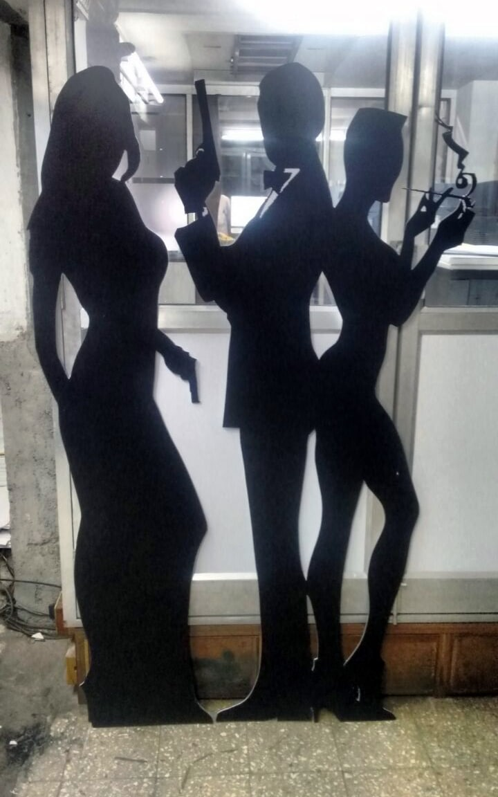 custom life sized cutouts made from sunboard of characters from james bond view to a kill movie