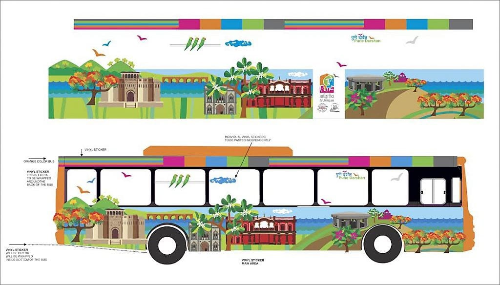 An artist's design for branding a bus with a vinyl wrap to show what the final vehicle branding will look like