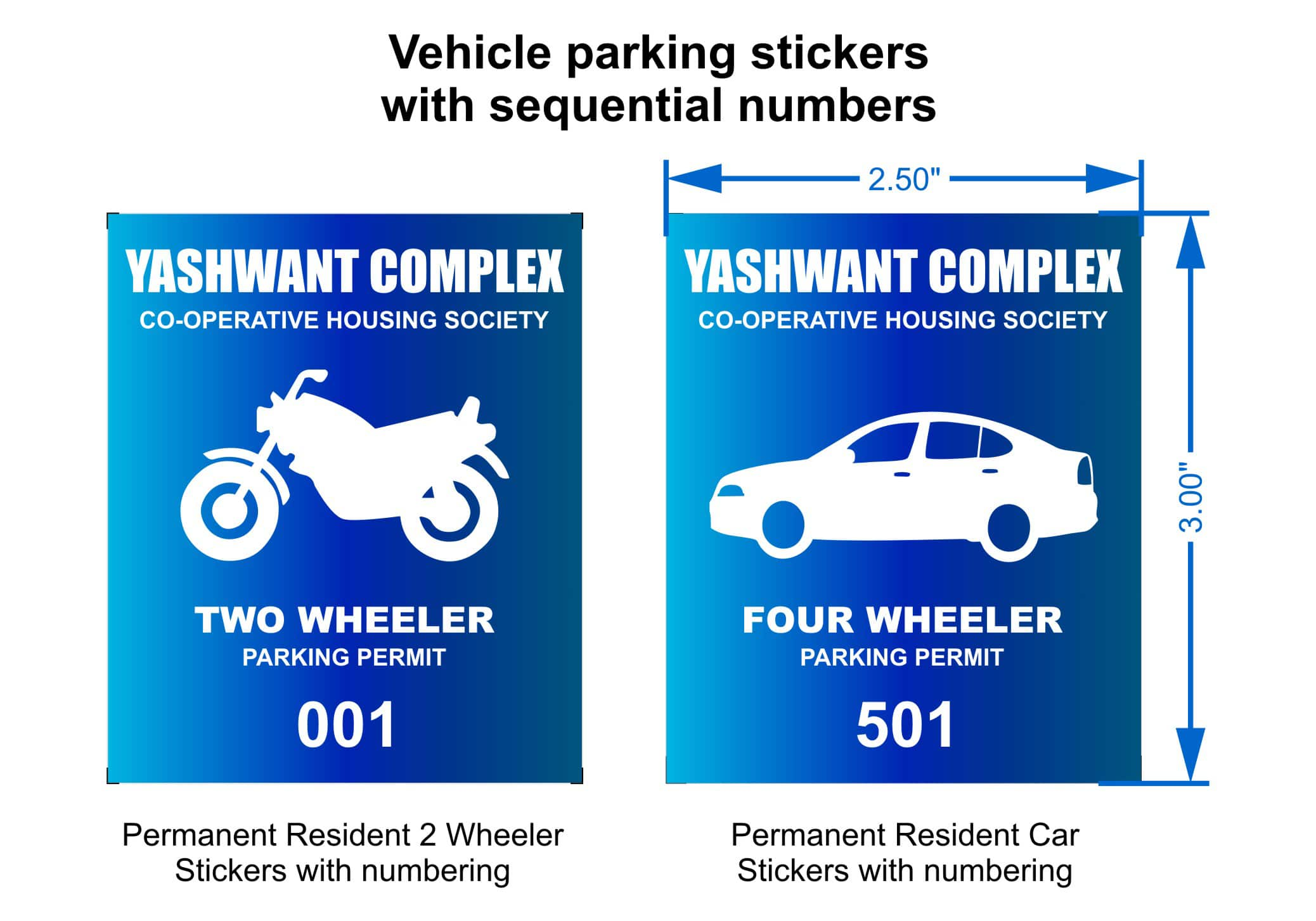 Parking permit stickers for two wheelers and four wheelers with sequential numbers