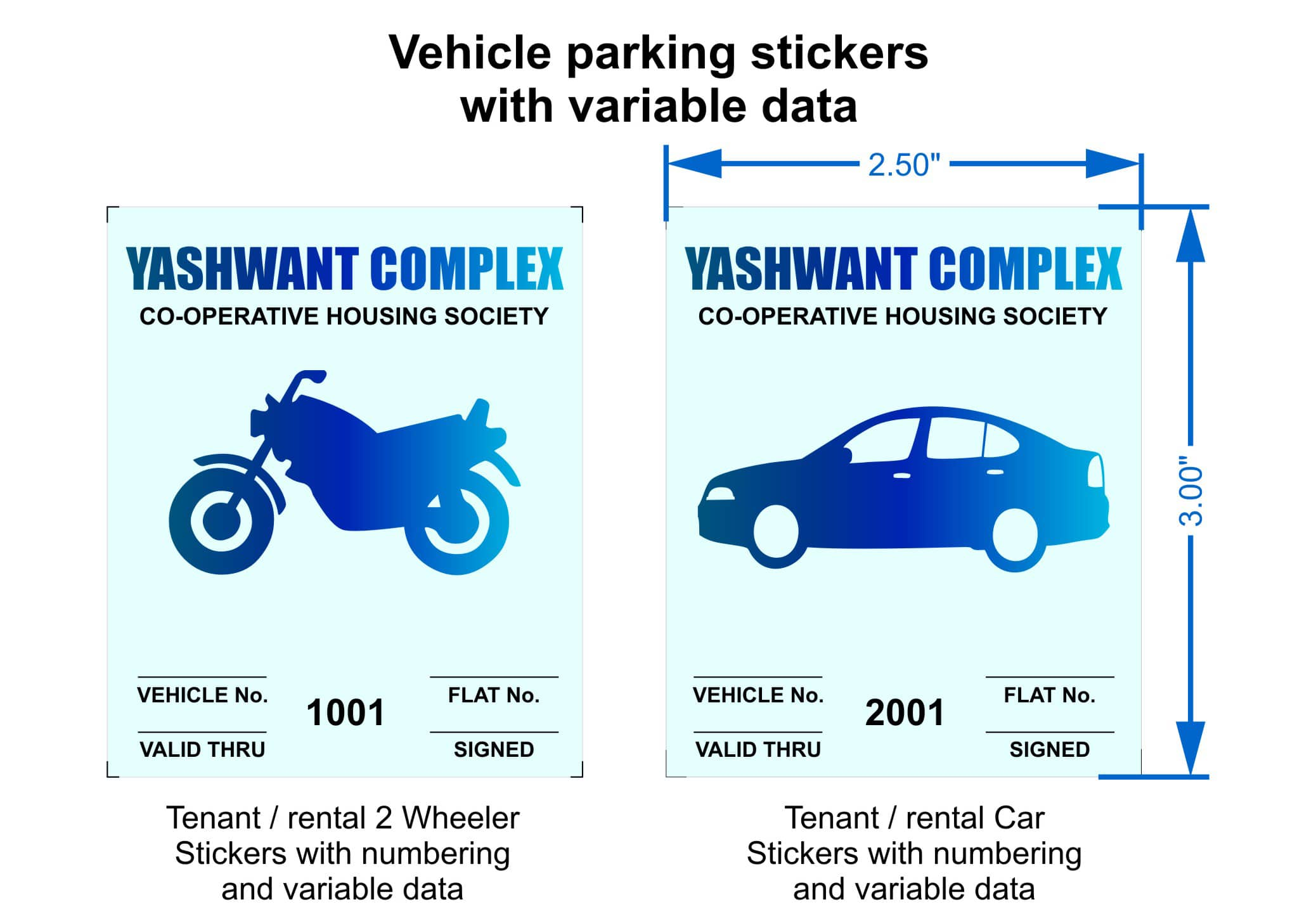 Vehicle parking stickers with variable data parking bay numbers expiry date serial number