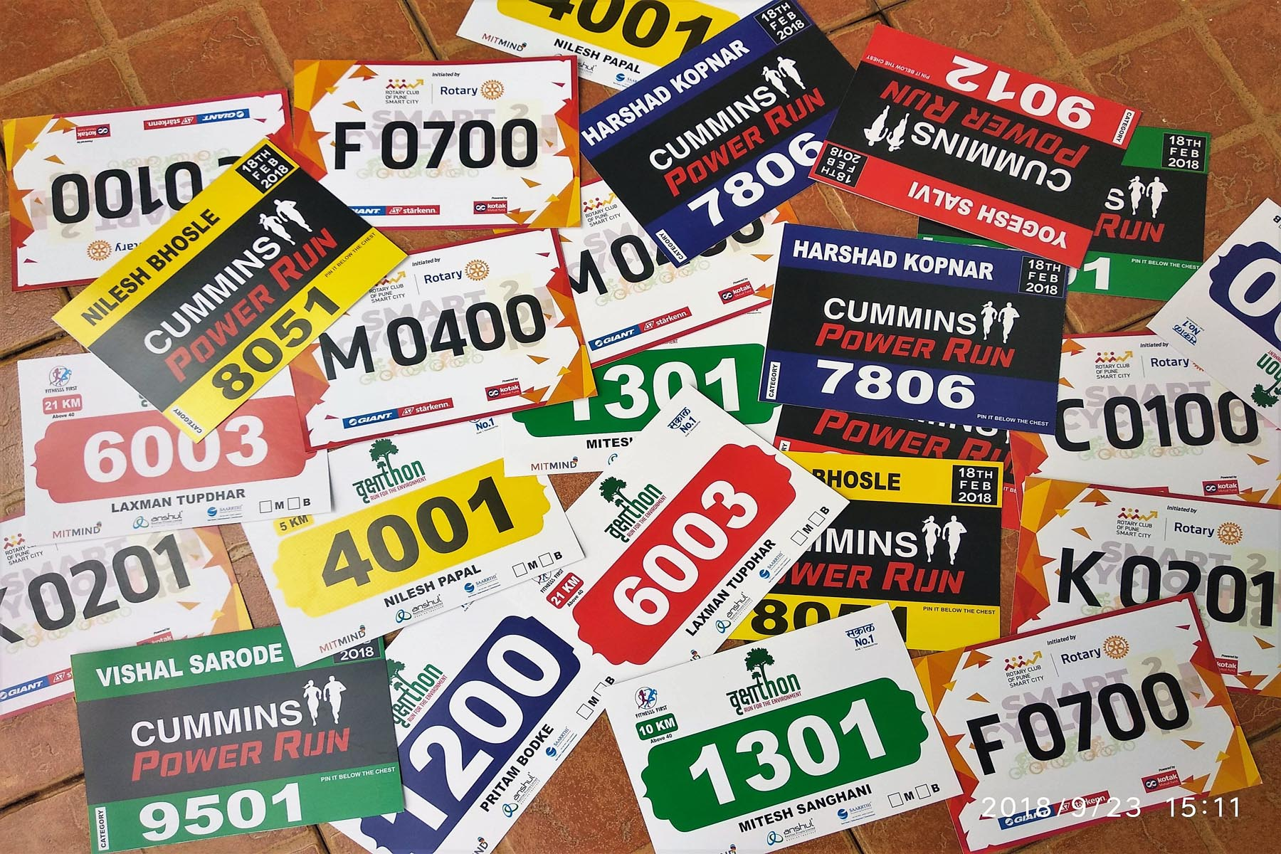 digitally printed marathon bibs ideal for athletics and other sports meets