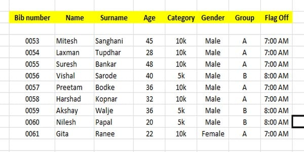 variable data needed from organisers to print on the marathon bibs