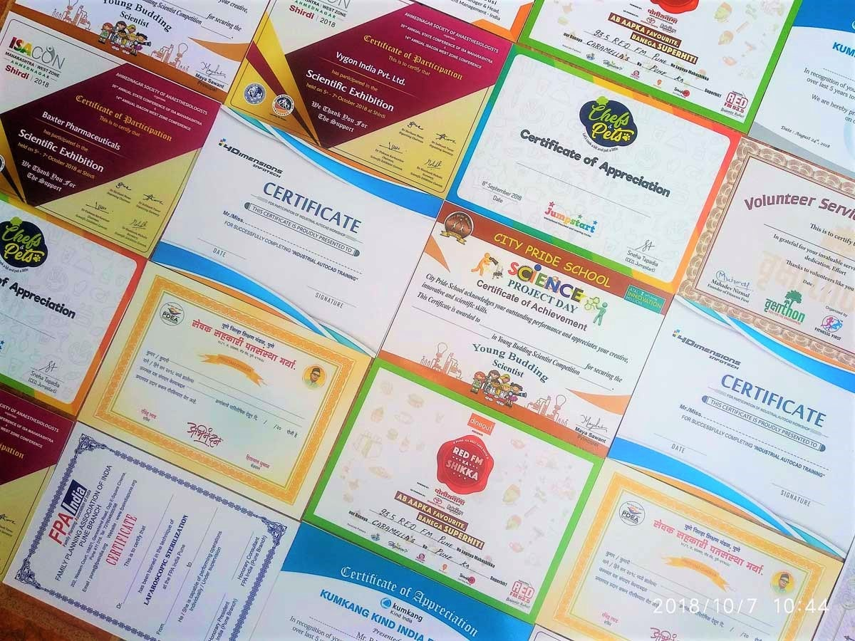 color certificates digitally printed