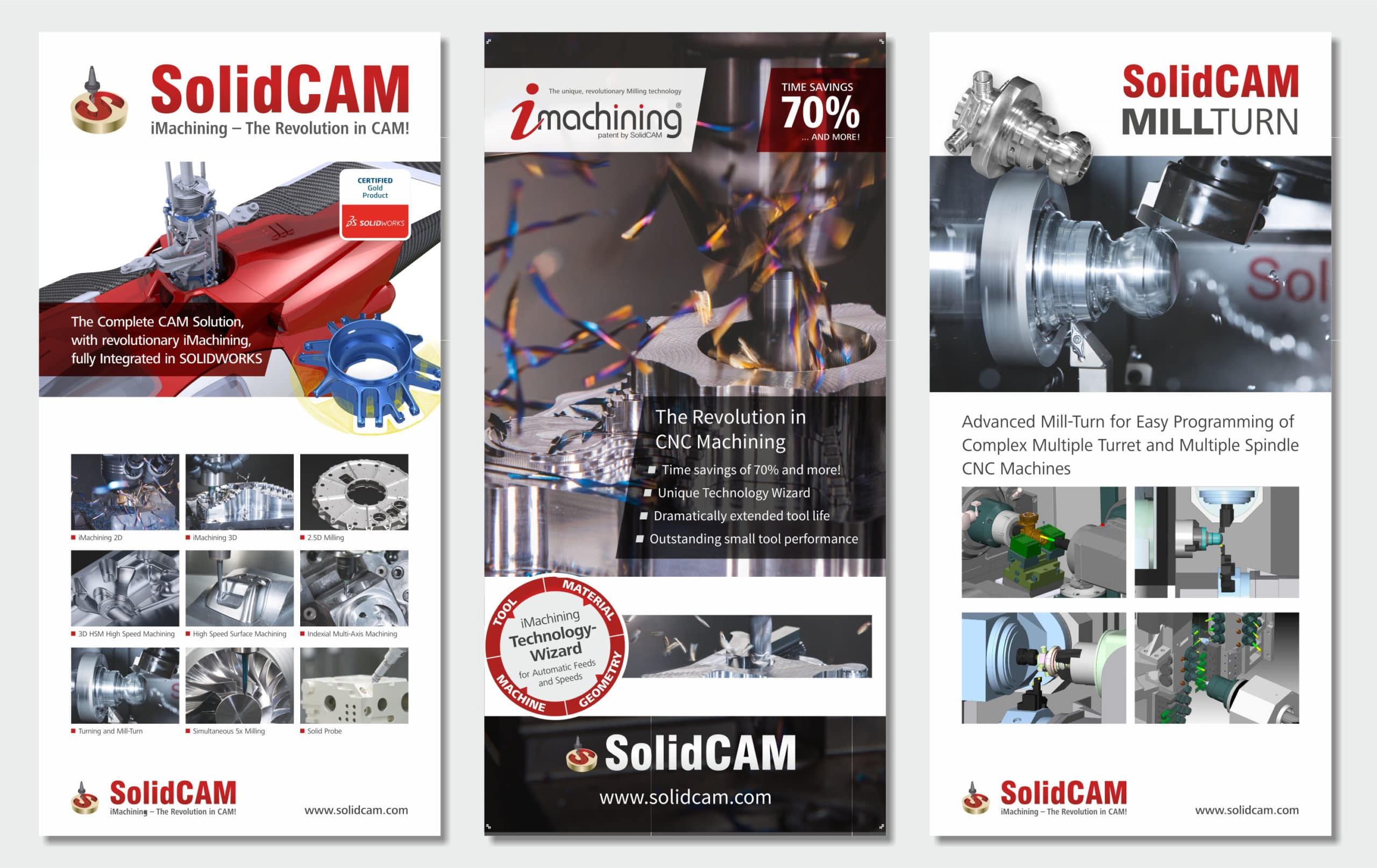 3 high resolution print ready artworks for exhibition poster presentation of Solidcam company