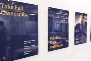 high resolution poster prints installed in the Atidiv office using acrylic sandwich panels