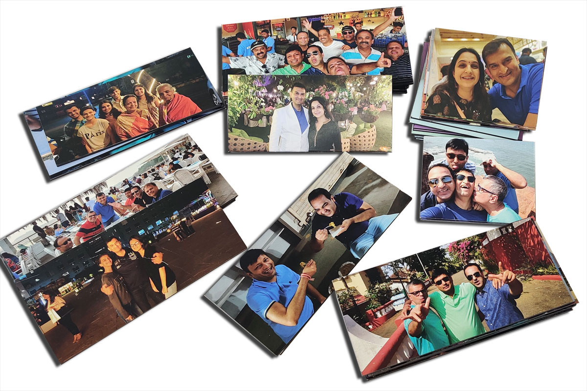 lots of custom printed photo magnets showing images of families and friends having a good time