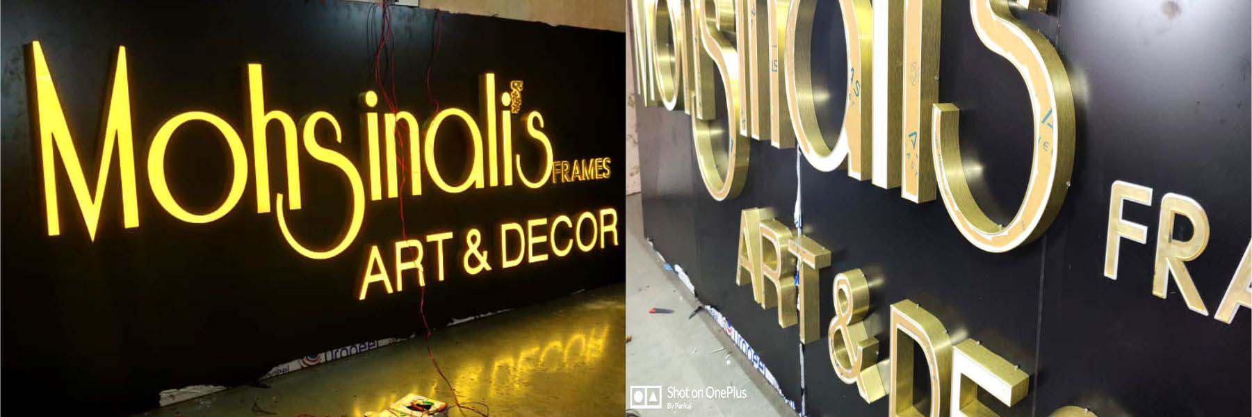 Shop signboard made of channel letters having a gold metallic finish on the sides. Front surface has acrylic and is lit with warm white LEDs