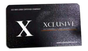 laser cut visiting card with rounded corners with Xclusive company name and logo cut through