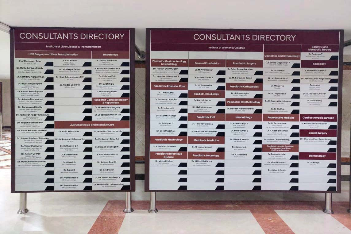Modular name board directory for a hospital showing the various departments and names of the staff. Individual nameplates can be removed or updated if the employees leave.