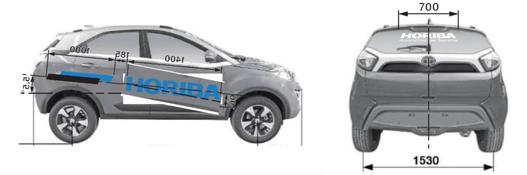 Car branding for the Horiba company is done on the sides and rear of the vehicle. The company logo and corporate colours are pasted as car stickers on the vehicle.